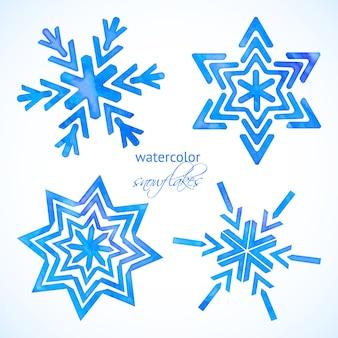 Conjunto de copos de nieve acuarelas