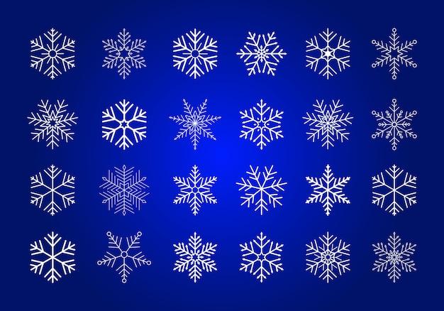 Conjunto de copos de nieve blancas.