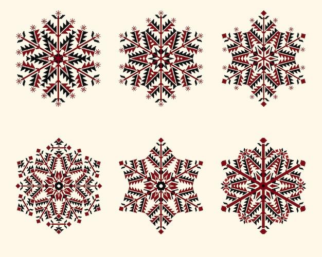 Conjunto de copos de nieve. elegantes copos de nieve para navidad y año nuevo de diseño.