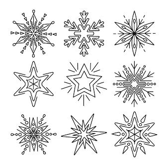 Conjunto de copos de nieve en estilo de línea