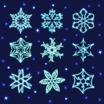Conjunto de copos de nieve de neón