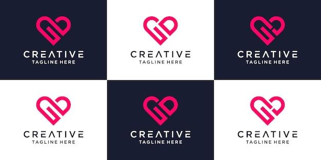 Conjunto de corazón creativo monograma letra gd logo.
