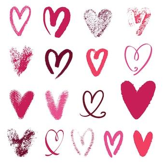 Conjunto de corazón dibujado a mano