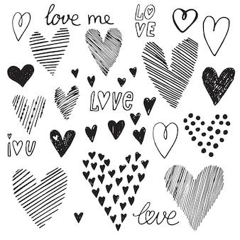 Conjunto de corazón, iconos vectoriales para su diseño. se puede utilizar para invitaciones de boda, tarjetas para el día de san valentín o tarjetas sobre el amor.