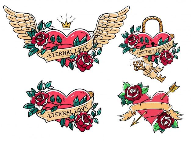 Conjunto de corazón con rosas y cintas. vieja escuela. corazón bajo cerradura y llave.