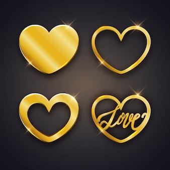 Conjunto de corazones brillantes dorados.