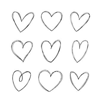 Conjunto de corazones dibujados