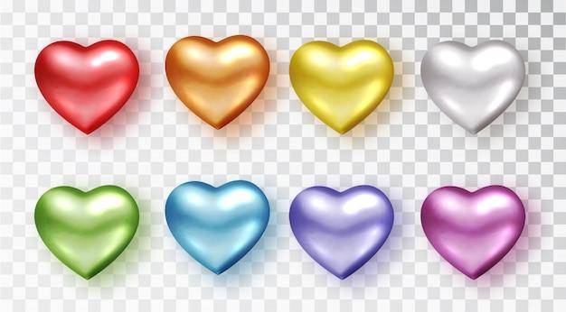 Conjunto de corazones de diferentes colores. decoración realista objeto 3d. conjunto de símbolo romántico del corazón del amor aislado.