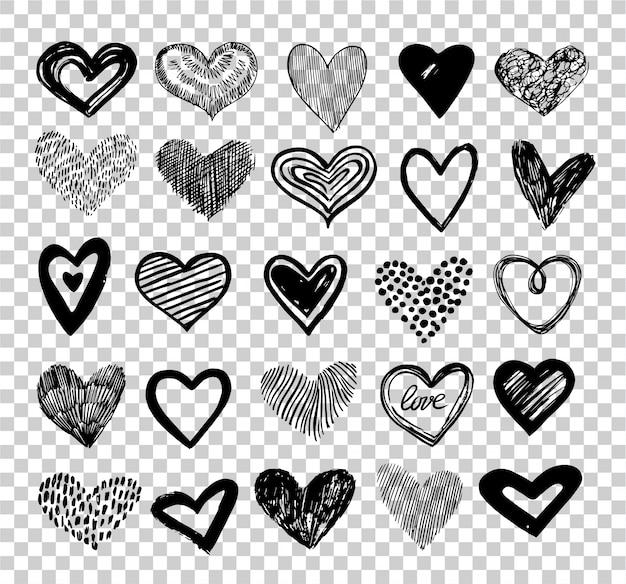 Conjunto de corazones doodle