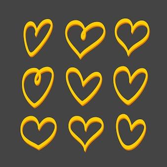 Conjunto de corazones. elementos aislados sobre fondo negro. logotipo de corazón o decoración para su diseño único.