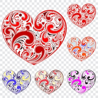 Conjunto de corazones grandes hechos de rizos en varios colores