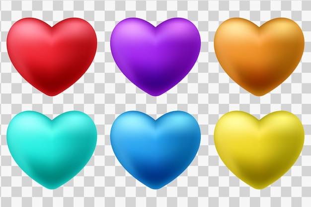Conjunto de corazones rojos 3d aislado sobre un fondo blanco.