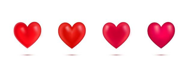 Conjunto de corazones rojos realistas de san valentín con shadow.3d corazón aislado sobre fondo blanco.simbol de love.element para tarjeta de felicitación en el día de san valentín, día de la madre, boda, te amo. ilustración vectorial.