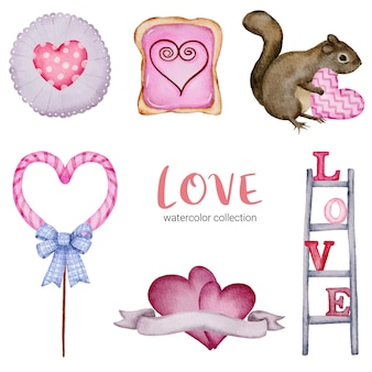 Conjunto de corazones rojos y rosados románticos encantadores del elemento del concepto de la tarjeta del día de san valentín aislado grande para la decoración, ilustración