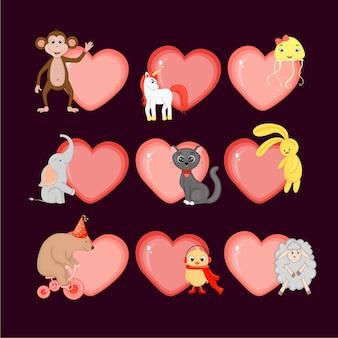 Conjunto de corazones de san valentín con animales lindos. estilo de dibujos animados.