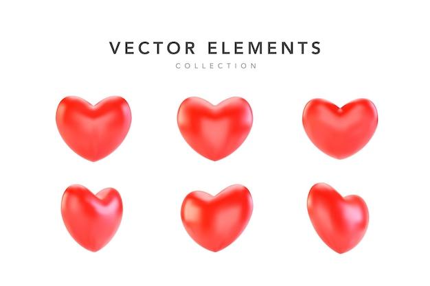 Conjunto de corazones de san valentín rojo realista aislado en blanco
