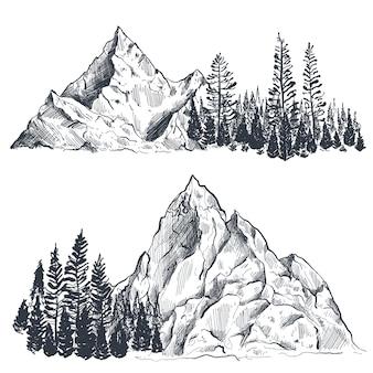 Conjunto de cordilleras gráficas dibujadas a mano con bosque de pinos paisaje natural