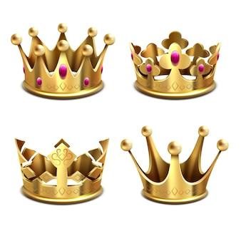 Conjunto corona dorada 3d. monarquía real y atributos de los reyes. corona de oro rey