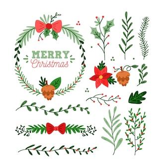 Conjunto de corona y flor navideña dibujada a mano