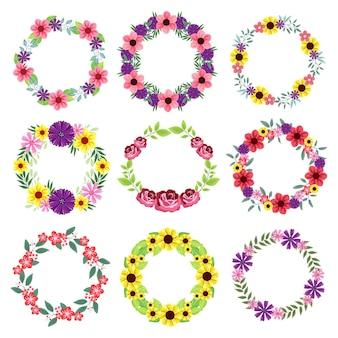 Conjunto de corona floral aislado sobre fondo blanco.