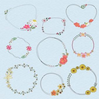 Conjunto de corona floral lindo doodle