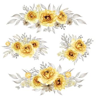 Conjunto de corona de flores amarillas de oro rosa aislado