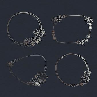 Conjunto de corona de flores dibujadas a mano