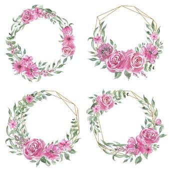 Conjunto de corona de flores rosa acuarela y oro geométrico