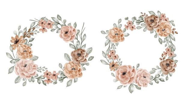 Conjunto de corona de flores con rosa y hojas.