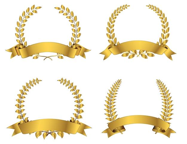 Conjunto de corona de laurel dorado con cinta