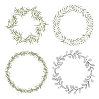 Conjunto de corona de marco de círculo de hoja de acuarela pintada a mano