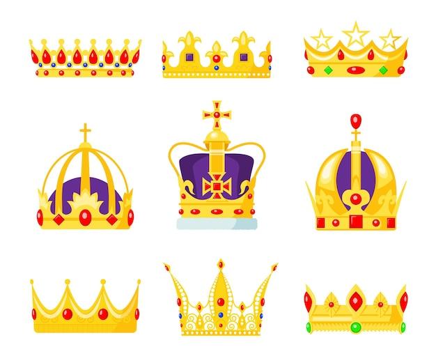Conjunto de corona de monarca. joyas de rey o reinas, símbolo de autoridad real, joya de oro para príncipe y princesa.