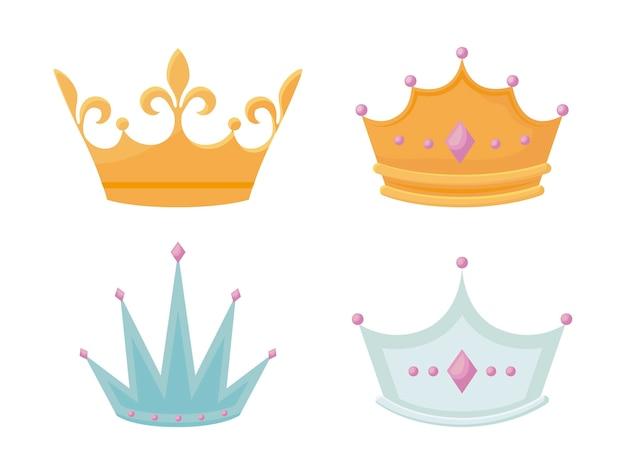 Conjunto corona monárquica con gemas.