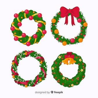 Conjunto de corona de navidad en diseño plano