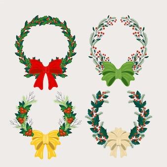 Conjunto de corona de navidad plana
