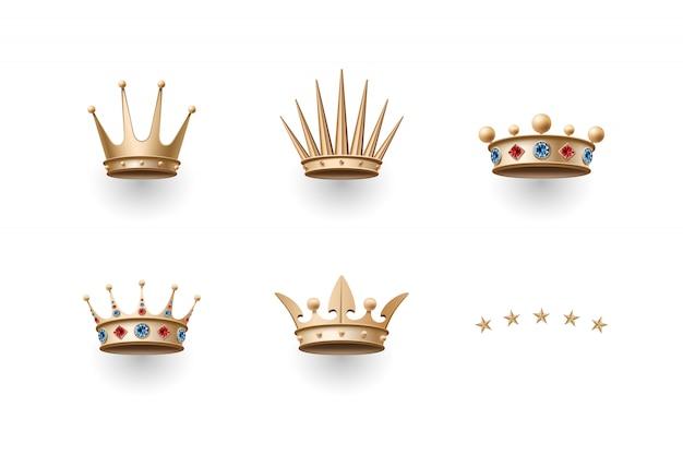 Conjunto de corona de oro real y cinco iconos de estrellas