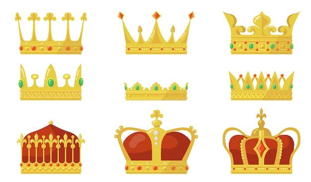 Conjunto de corona real. símbolo de autoridad de rey o reina, joya de oro para príncipe y princesa.