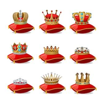 Conjunto de coronas en almohadas