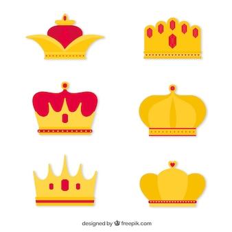 Conjunto de coronas con diseño plano