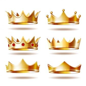 Conjunto de coronas doradas para rey