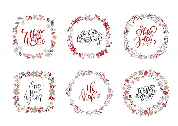Conjunto de coronas escandinavas de navidad y textos vintage de vacaciones caligráficas