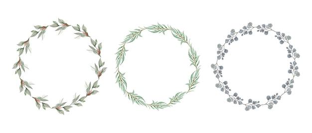 Conjunto de coronas florales acuarelas