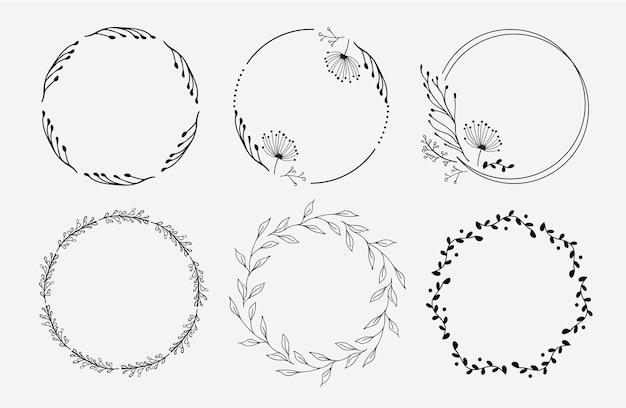 Conjunto de coronas florales. círculos florales. diseño de logo.