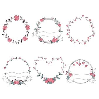 Conjunto de coronas florales dibujadas a mano