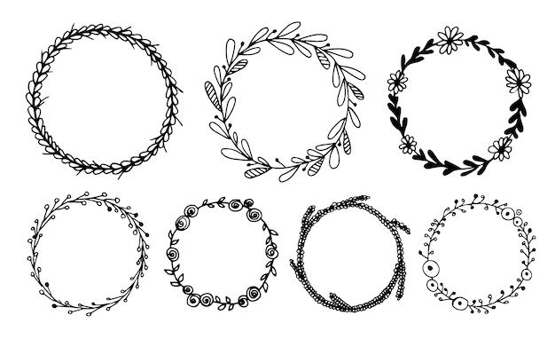 Conjunto de coronas florales. ilustración vectorial