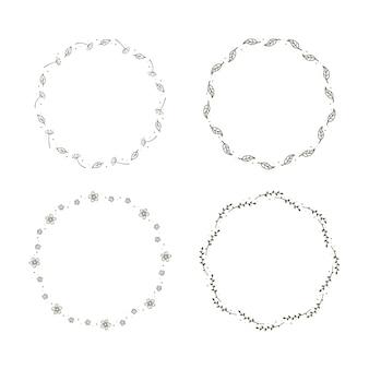 Conjunto de coronas florales simples.