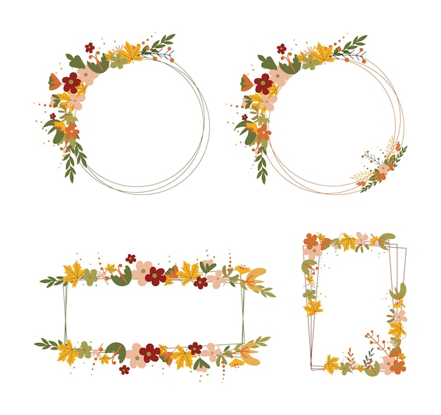 Conjunto de coronas de flores y hojas de otoño dibujadas a mano.