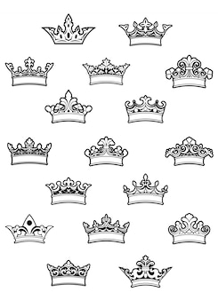 Conjunto de coronas heráldicas adornadas