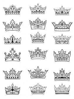 Conjunto de coronas imperiales y reales en blanco y negro