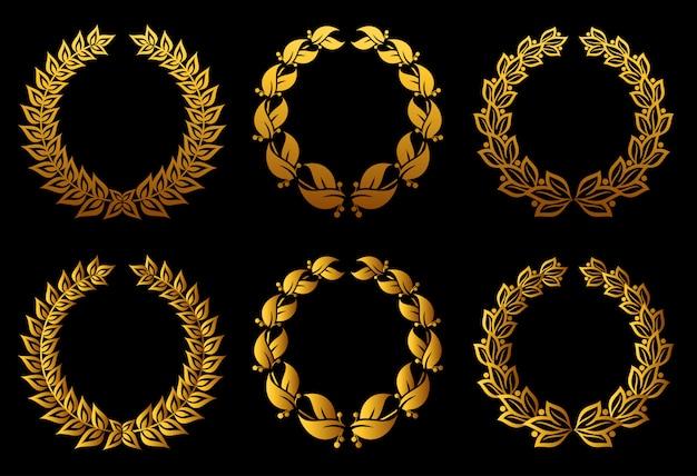 Conjunto de coronas de laurel para distintivo o diseño de etiqueta.